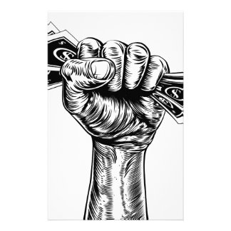 Fist holding money concept personalised stationery