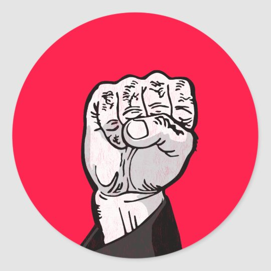 fist in the air classic round sticker