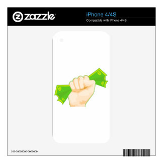 Fist of Cash Cartoon Hand Money Icon iPhone 4S Skins