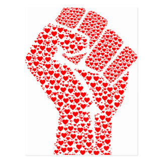 Fist of Love - Clenched Fist made of red hearts Postcard