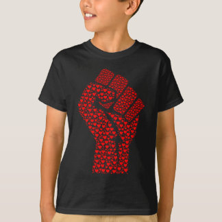 Fist of Love - Clenched Fist made of red hearts T-Shirt
