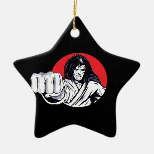Fist of Revenge Double-Sided Star Ceramic Christmas Ornament
