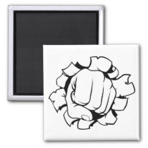 Fist Punching Through Background Magnet