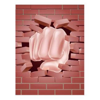 Fist Punching Through Brick Wall Postcard