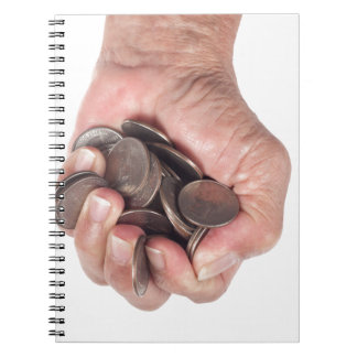 Fistful of coins spiral note book