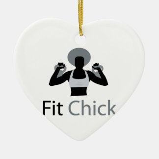 Fit Chick with Afro holding kettlebells Ceramic Ornament