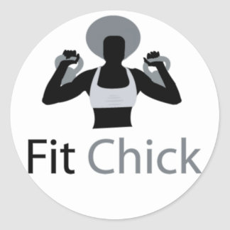 Fit Chick with Afro holding kettlebells Classic Round Sticker