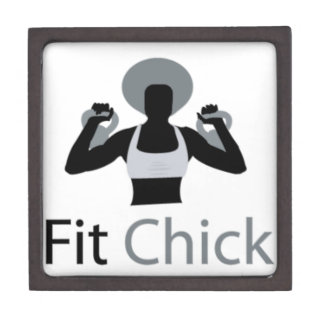 Fit Chick with Afro holding kettlebells Gift Box
