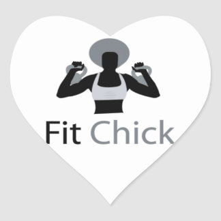 Fit Chick with Afro holding kettlebells Heart Sticker