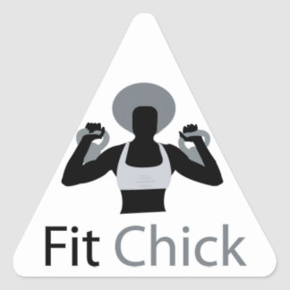 Fit Chick with Afro holding kettlebells Triangle Sticker