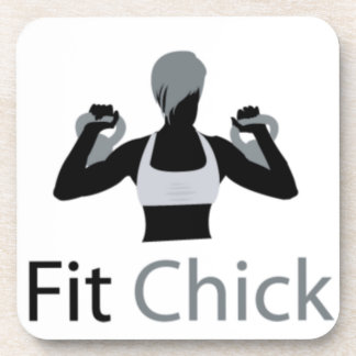 Fit Chick with Kettlebells Beverage Coaster