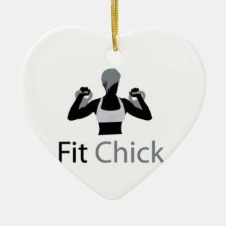 Fit Chick with Kettlebells Double-Sided Heart Ceramic Christmas Ornament