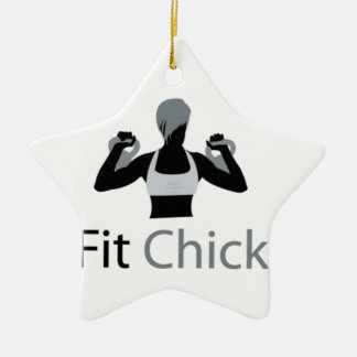 Fit Chick with Kettlebells Double-Sided Star Ceramic Christmas Ornament