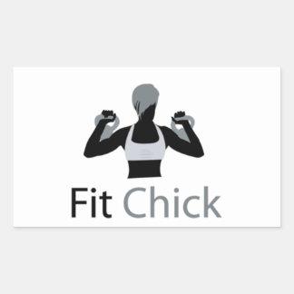 Fit Chick with Kettlebells Rectangular Sticker