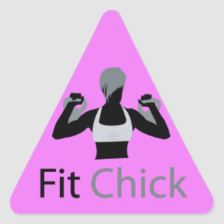 Fit Chick with Kettlebells Triangle Sticker
