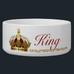 """Fit for a King Bowl<br><div class=""""desc"""">Fancy dog bowl with a golden crown and gold scrolls. You may change the name on the bowl. I used red lettering to match the red of the crown. The crown is full of jewels and pearls and has a fleur de lis on top. Very royal and kingly for your...</div>"""