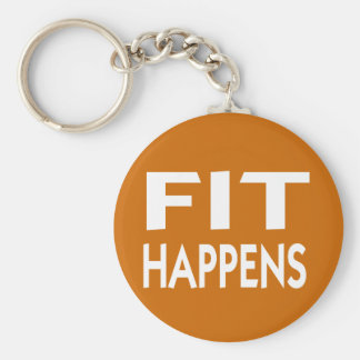 Fit Happens fitness slogan Keychain
