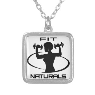 Fit Naturals- Black Logo Silver Plated Necklace