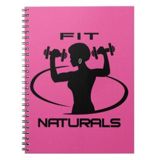 Fit Naturals- Black Logo Spiral Notebook