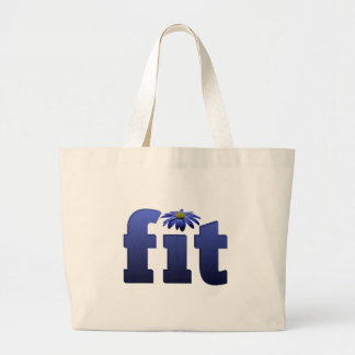 Fit with blue flower large tote bag