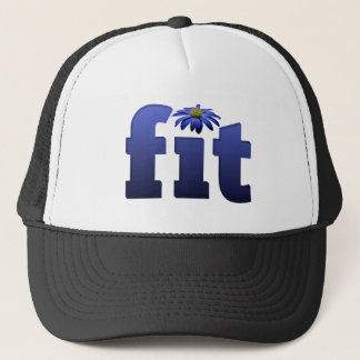 Fit with blue flower trucker hat