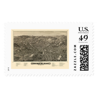 Fitchburg, MA Panoramic Map - 1882 Postage Stamp