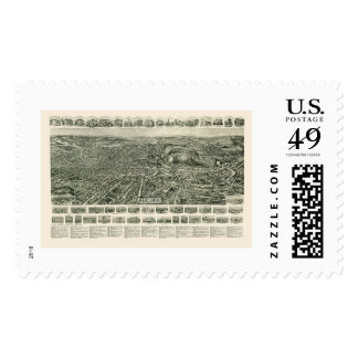 Fitchburg, MA Panoramic Map - 1915 Stamps