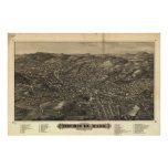 Fitchburg Mass. 1882 Antique Panoramic Map Poster