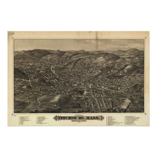 Fitchburg Mass. 1882 Antique Panoramic Map Posters