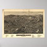 Fitchburg Mass. 1882 Antique Panoramic Map Print