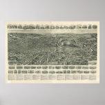 Fitchburg Mass. 1915 Antique Panoramic Map Print