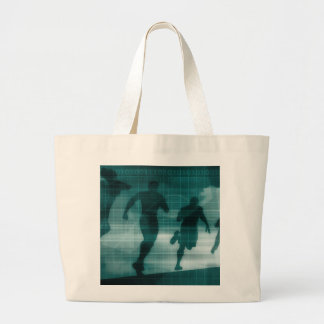 Fitness App Tracker Software Silhouette Illustrati Large Tote Bag