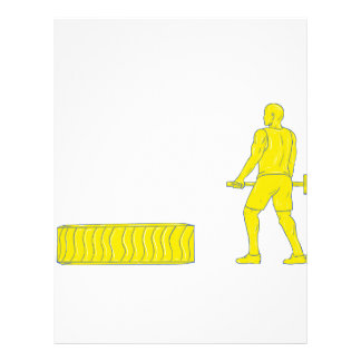 Fitness Athlete Hammer Workout Drawing Letterhead