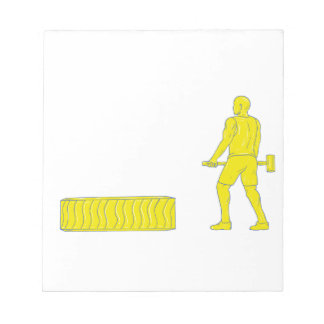 Fitness Athlete Hammer Workout Drawing Notepad