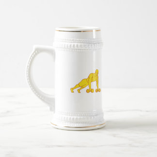 Fitness Athlete Push Up Dumbbell Drawing Beer Stein