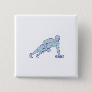 Fitness Athlete Push Up One Hand Dumbbell Drawing Button