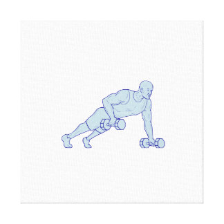 Fitness Athlete Push Up One Hand Dumbbell Drawing Canvas Print