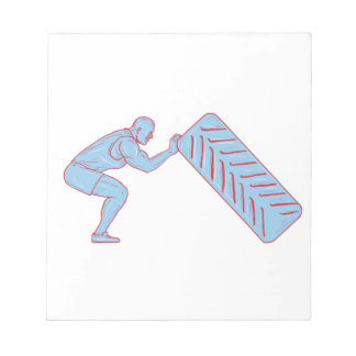 Fitness Athlete Pushing Back Tire Workout Drawing Notepad