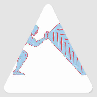 Fitness Athlete Pushing Back Tire Workout Drawing Triangle Sticker