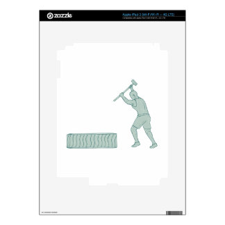 Fitness Athlete Sledge Hammer Striking Tire Drawin Decal For iPad 3