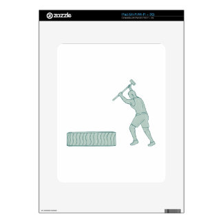 Fitness Athlete Sledge Hammer Striking Tire Drawin Decal For The iPad