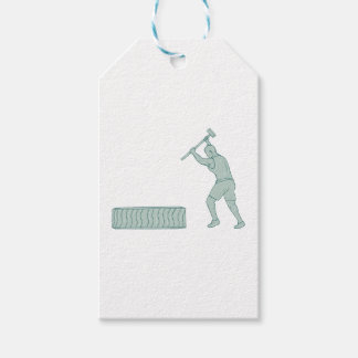 Fitness Athlete Sledge Hammer Striking Tire Drawin Gift Tags