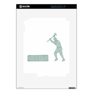 Fitness Athlete Sledge Hammer Striking Tire Drawin iPad 2 Decals