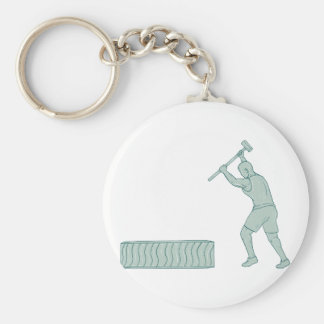 Fitness Athlete Sledge Hammer Striking Tire Drawin Keychain