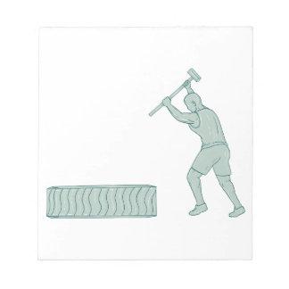 Fitness Athlete Sledge Hammer Striking Tire Drawin Notepad