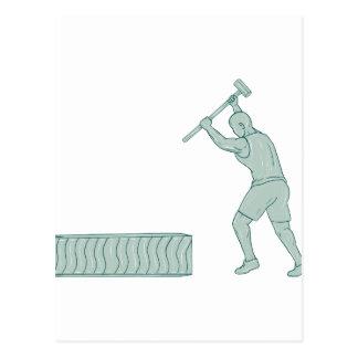 Fitness Athlete Sledge Hammer Striking Tire Drawin Postcard