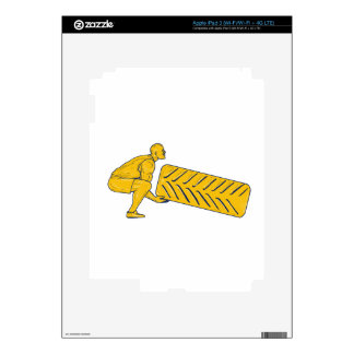 Fitness Athlete Squatting Lifting Tire Drawing Skin For iPad 3
