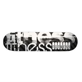 Fitness; Black & Dark Gray Stripes Skateboard Deck