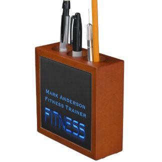 Fitness Blue, Black Desk Organizer