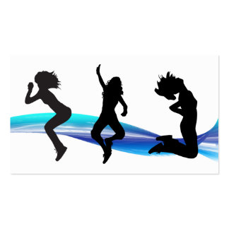 Fitness Business Card Blue White Wave Dance